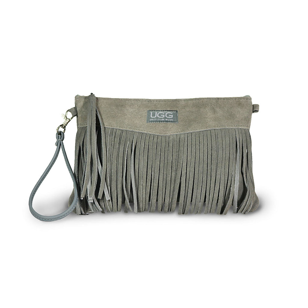 Tribal Clutch Slate grey suede online sale by UGG Australian Made Since 1974 Front view