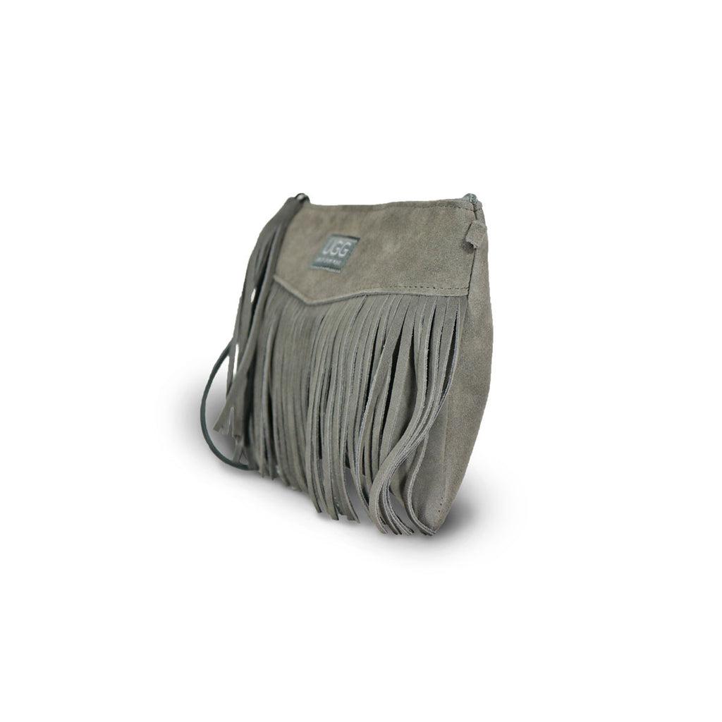 Tribal Clutch Slate grey suede online sale by UGG Australian Made Since 1974 Front angle view