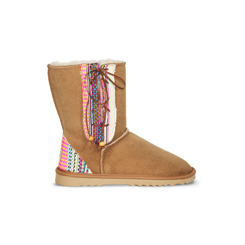 Classic Lace Up Chestnut sheepskin ugg boot with Aztec Earth heel and side panels online sale by UGG Australian Made Since 1974 Side view