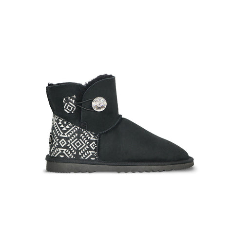 Luxe Mini Aztec Moon Black sheepskin ugg boot with Swarovski crystal button and logo online sale by UGG Australian Made Since 1974 Side view
