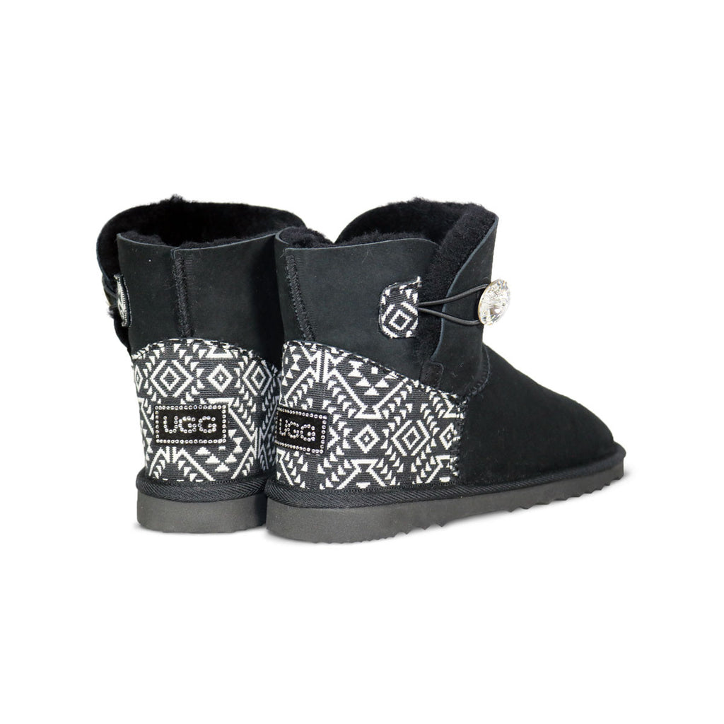 Luxe Mini Aztec Moon Black sheepskin ugg boot with Swarovski crystal button and logo online sale by UGG Australian Made Since 1974 Back angle view pair