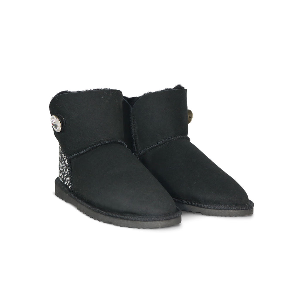 Luxe Mini Aztec Moon Black sheepskin ugg boot with Swarovski crystal button and logo online sale by UGG Australian Made Since 1974 Front angle view pair