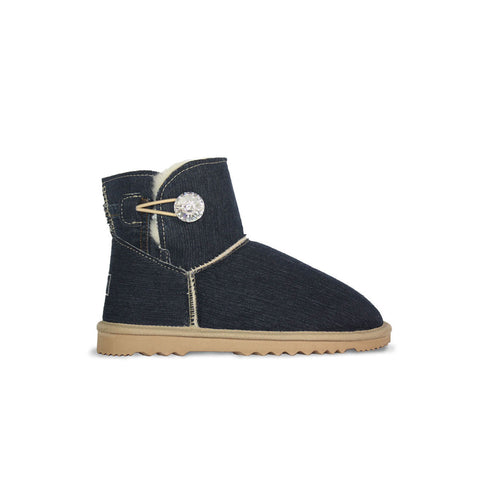 Dark blue Denim Luxe Mini sheepskin ugg boot with Swarovski crystal buttons and logo online sale by UGG Australian Made Since 1974 Side view