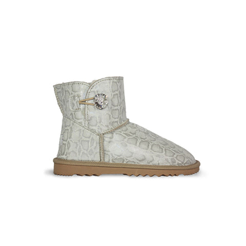 Glamour Snake Luxe Mini sheepskin ugg boot with soft leather and Swarovski crystal buttons and logo online sale by UGG Australian Made Since 1974 Side view