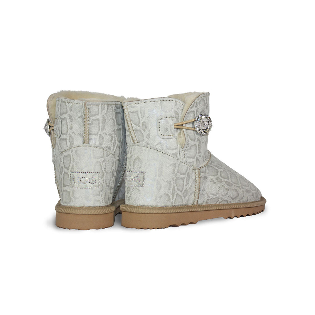Glamour Snake Luxe Mini sheepskin ugg boot with soft leather and Swarovski crystal buttons and logo online sale by UGG Australian Made Since 1974 Back angle view pair