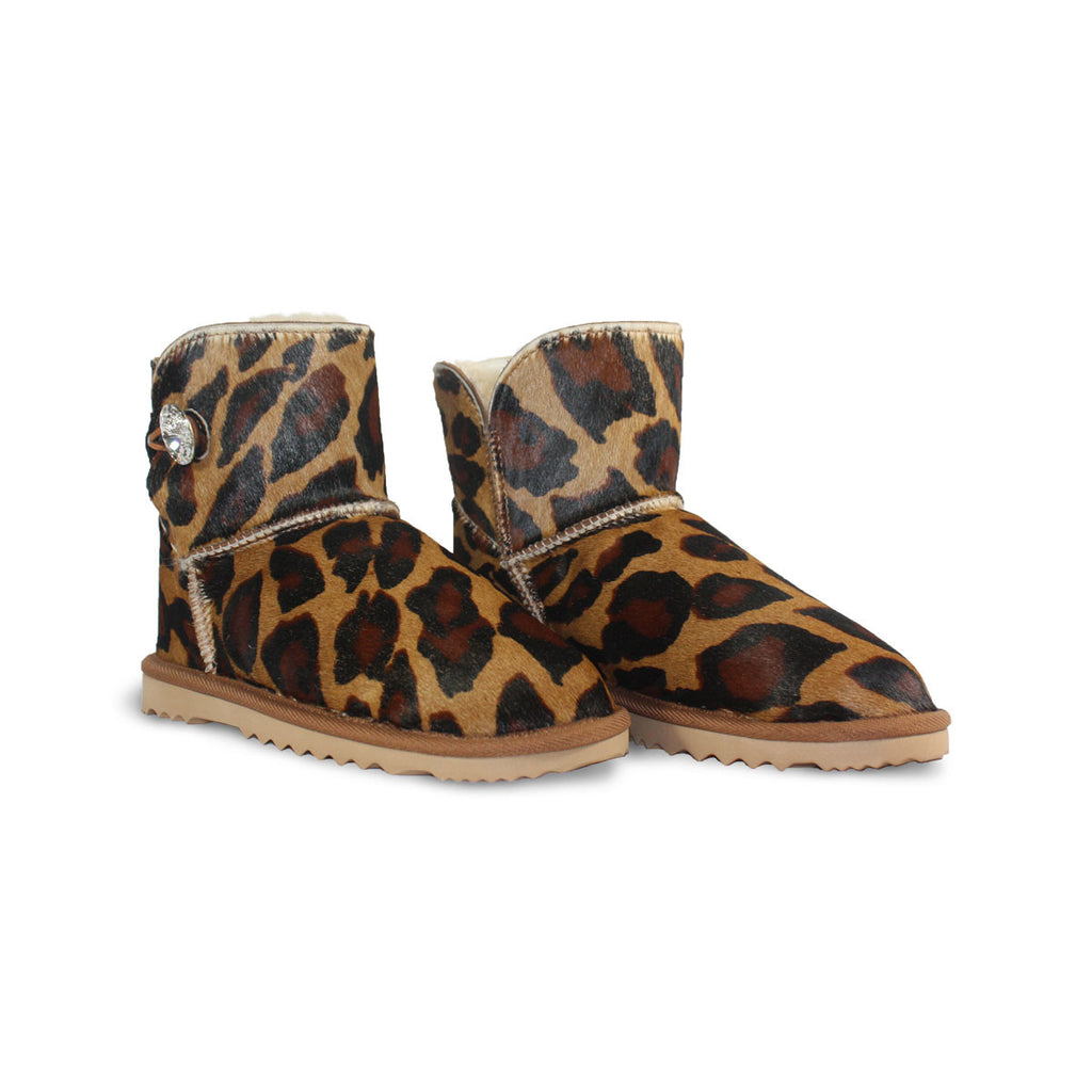 Leopard Luxe Mini sheepskin ugg boot made with calfskin with leopard print and Swarovski crystal buttons and logo online sale by UGG Australian Made Since 1974 Front angle view pair