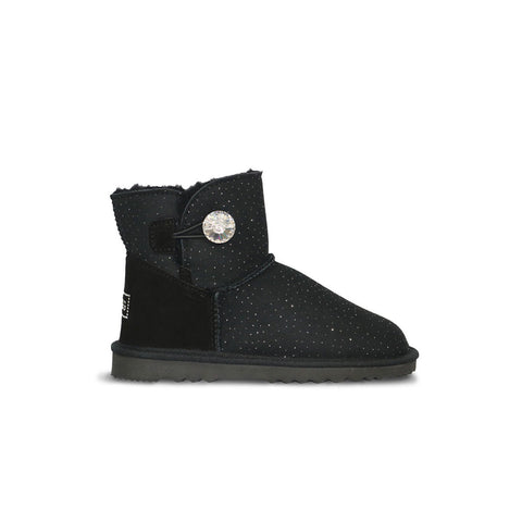Venus Luxe Mini Black sheepskin ugg boot with Swarovski crystal buttons and logo online sale by UGG Australian Made Since 1974 Side view