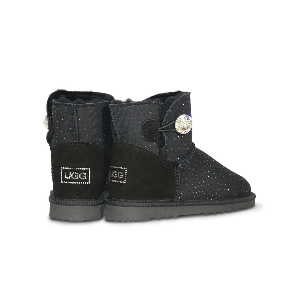 Venus Luxe Mini Black sheepskin ugg boot with Swarovski crystal buttons and logo online sale by UGG Australian Made Since 1974 Back angle view pair