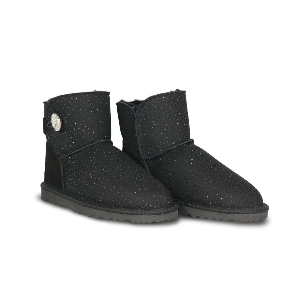 Venus Luxe Mini Black sheepskin ugg boot with Swarovski crystal buttons and logo online sale by UGG Australian Made Since 1974 Front angle view pair
