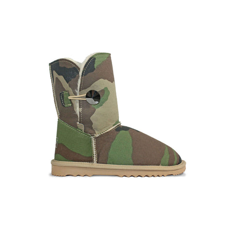 Camo Luxe Mid sheepskin ugg boot with Swarovski crystal button and logo online sale by UGG Australian Made Since 1974 Side view