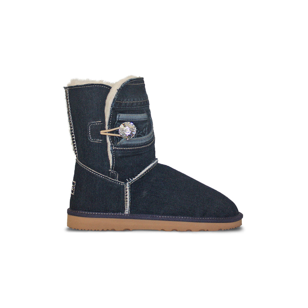 Dark blue Denim Luxe Mid sheepskin ugg boot with Swarovski crystal buttons and logo online sale by UGG Australian Made Since 1974 Side view