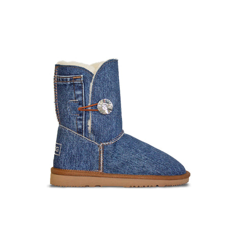 Medium blue Denim Luxe Mid sheepskin ugg boot with Swarovski crystal buttons and logo online sale by UGG Australian Made Since 1974 Side view