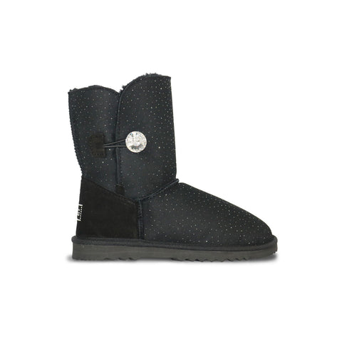 Venus Luxe Mid Black sheepskin ugg boot with Swarovski crystal buttons and logo online sale by UGG Australian Made Since 1974 Side view