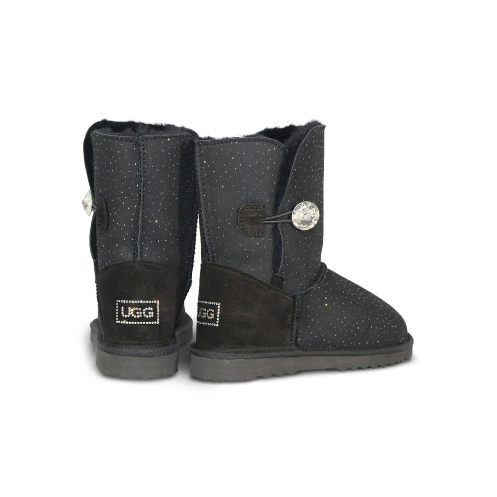 Venus Luxe Mid Black sheepskin ugg boot with Swarovski crystal buttons and logo online sale by UGG Australian Made Since 1974 Back angle view pair