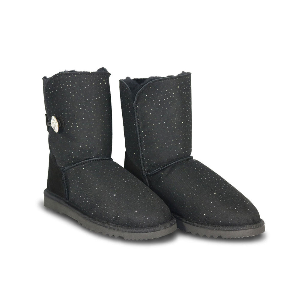 Venus Luxe Mid Black sheepskin ugg boot with Swarovski crystal buttons and logo online sale by UGG Australian Made Since 1974 Front angle view pair
