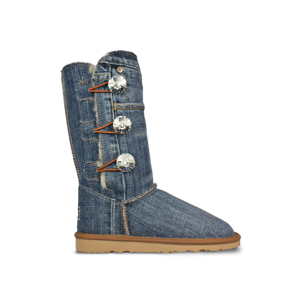 Medium blue Denim Luxe Triplet sheepskin ugg boots with Swarovski crystal buttons and logo online sale by UGG Australian Made Since 1974 Side view