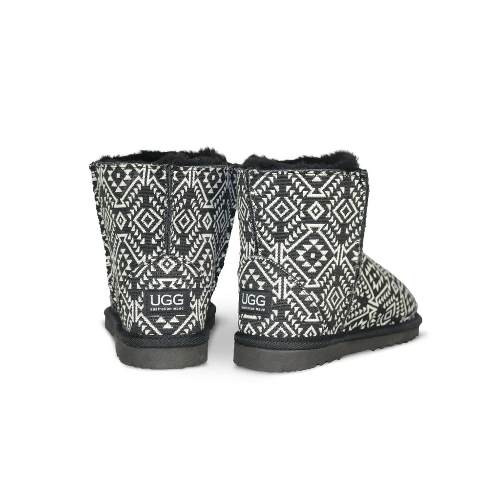 Classic Aztec Moon Mini sheepskin ugg boot online sale by UGG Australian Made Since 1974 Back angle view pair