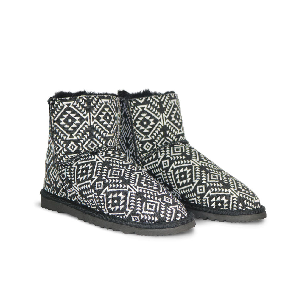 Classic Aztec Moon Mini sheepskin ugg boot online sale by UGG Australian Made Since 1974 Front angle view pair