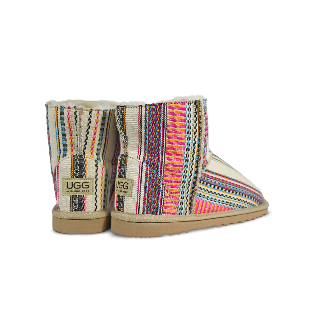 Classic Aztec Earth Mini sheepskin ugg boot online sale by UGG Australian Made Since 1974 Back angle view pair
