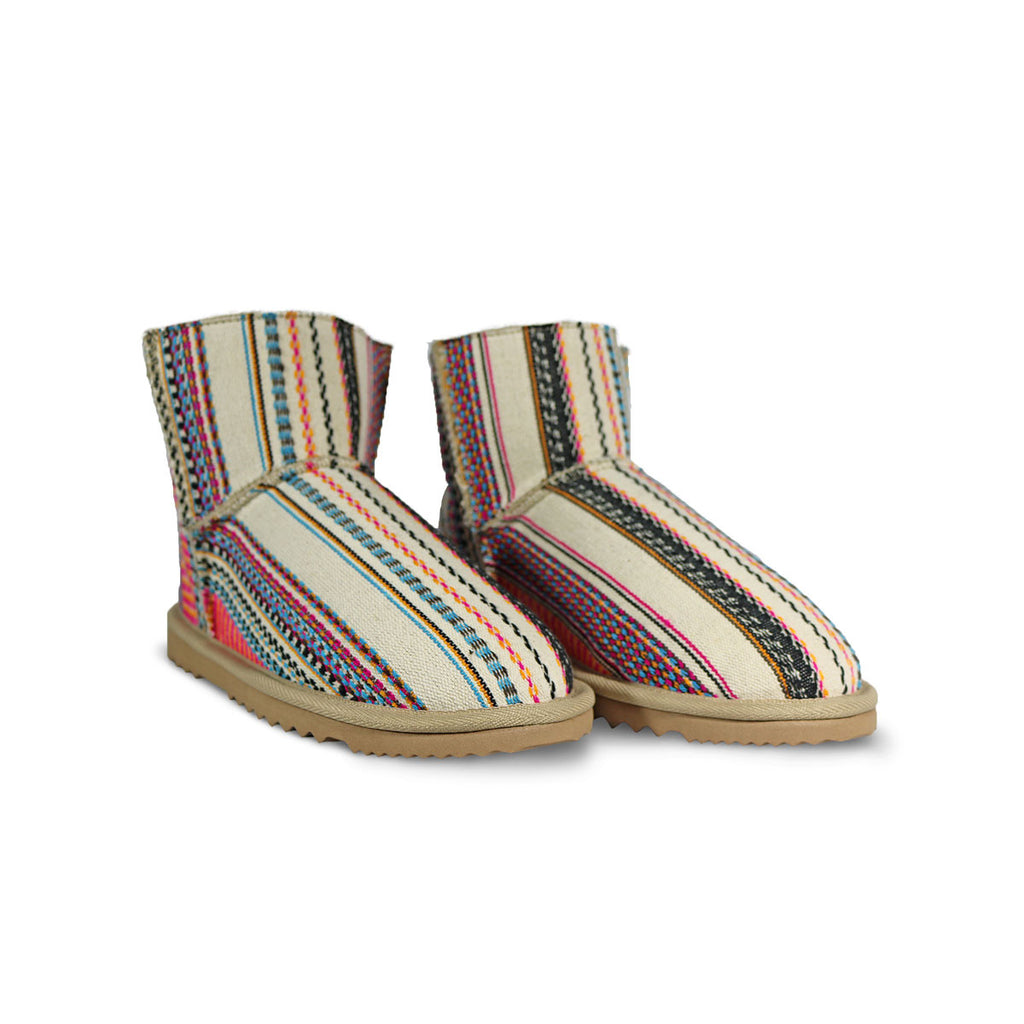 Classic Aztec Earth Mini sheepskin ugg boot online sale by UGG Australian Made Since 1974 Front angle view pair