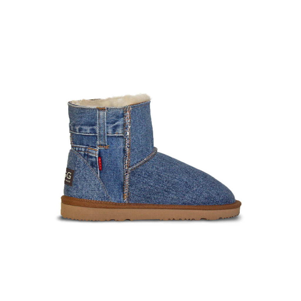 Classic medium blue Denim Mini sheepskin ugg boot online sale by UGG Australian Made Since 1974 Side view v2