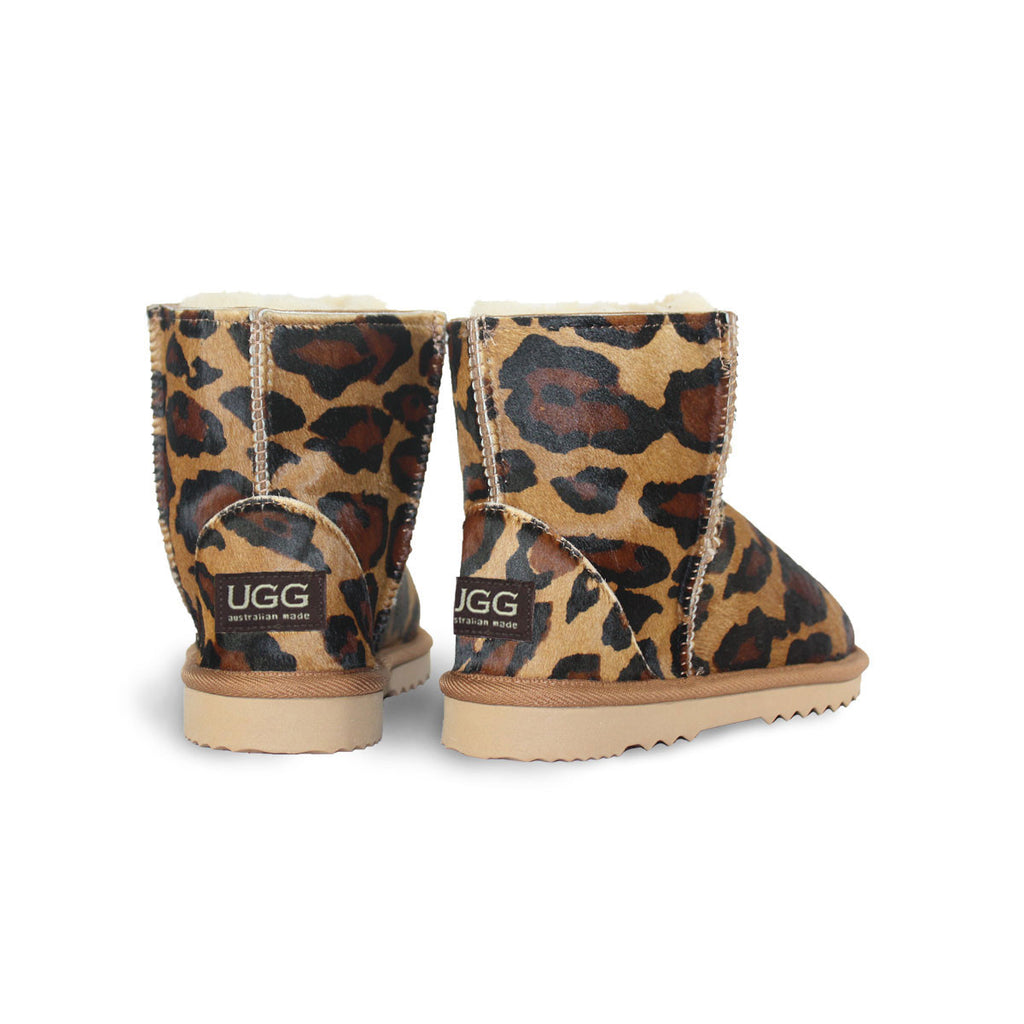 Leopard Classic Mini sheepskin ugg boot made with calfskin online sale by UGG Australian Made Since 1974 Back angle view pair