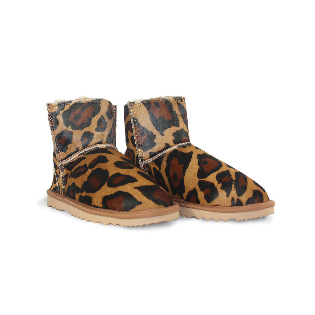 Leopard Classic Mini sheepskin ugg boot made with calfskin online sale by UGG Australian Made Since 1974 Front angle view pair