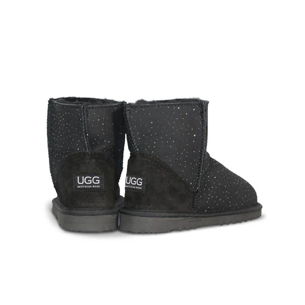 Classic Venus Mini Black sheepskin ugg boot online sale by UGG Australian Made Since 1974 Back angle view pair