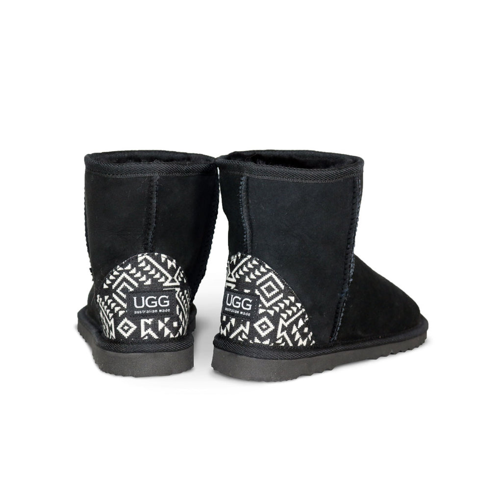 Classic Mini Chestnut sheepskin ugg boot with black Aztec Moon heel online sale by UGG Australian Made Since 1974 Back angle view pair