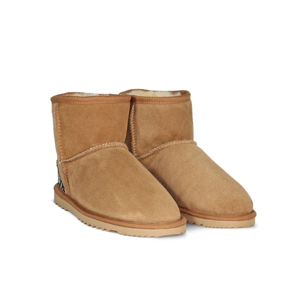 Classic Mini Chestnut sheepskin ugg boot with black Aztec Moon heel online sale by UGG Australian Made Since 1974 Front angle view pair