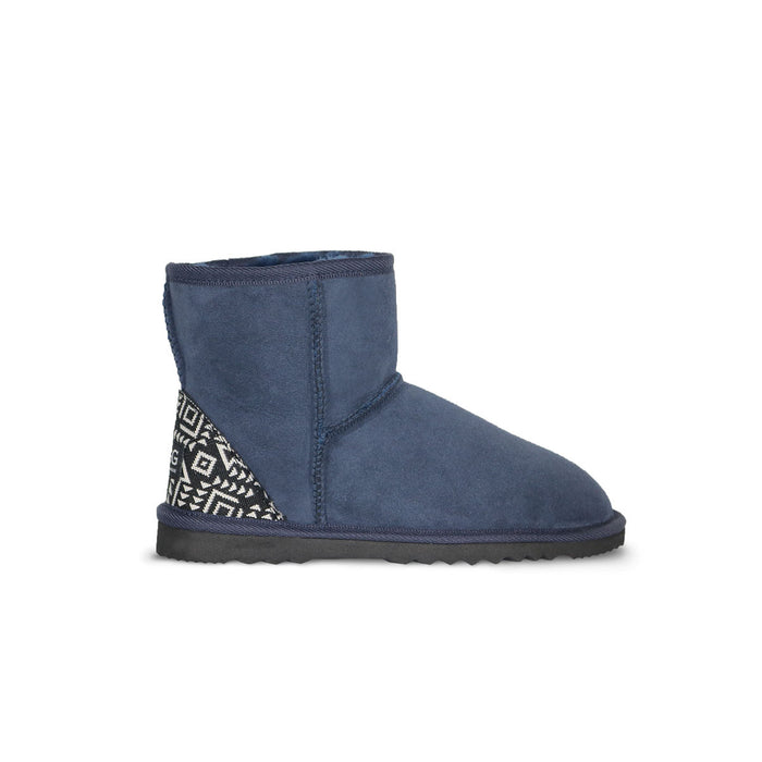 Classic Mini Navy blue sheepskin ugg boot with black Aztec Moon heel online sale by UGG Australian Made Since 1974 Side view