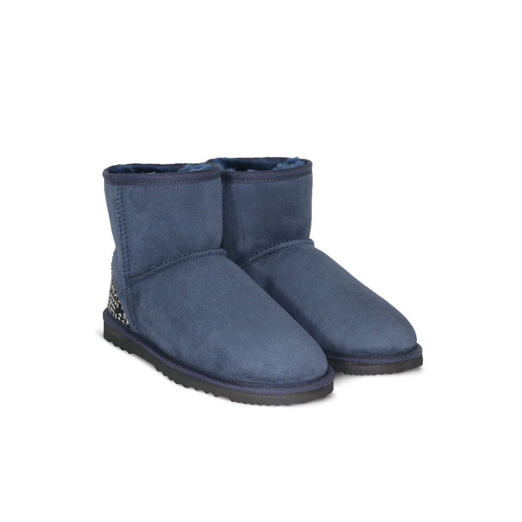 Classic Mini Navy blue sheepskin ugg boot with black Aztec Moon heel online sale by UGG Australian Made Since 1974 Front angle view pair