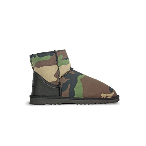 Camo Classic Mini sheepskin ugg boot with black leather heel online sale by UGG Australian Made Since 1974 Side view
