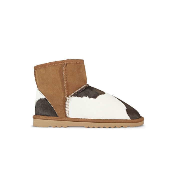Classic MuMu Mini Chestnut sheepskin ugg boot with calfksin toe and heel online sale by UGG Australian Made Since 1974 Side view