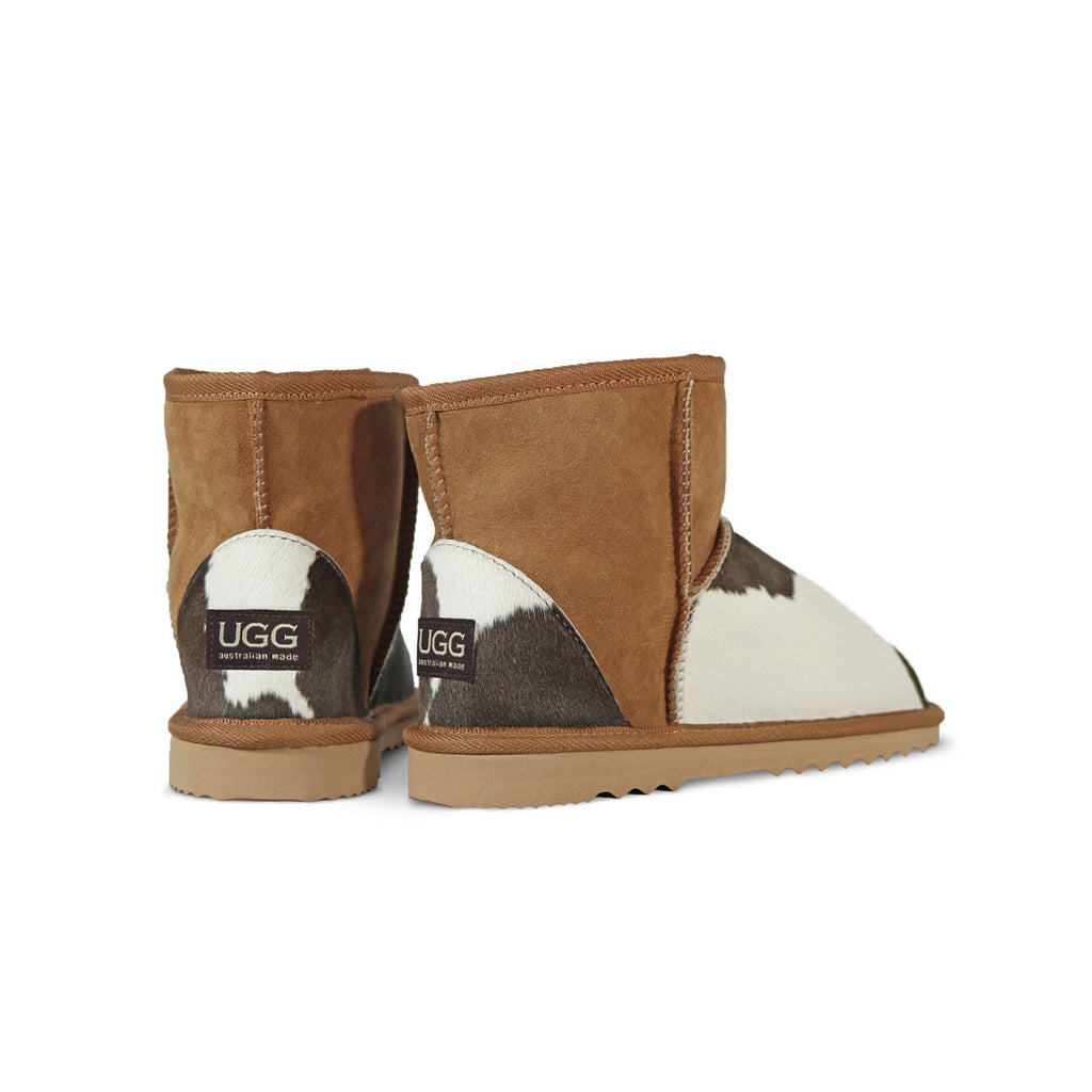 Classic MuMu Mini Chestnut sheepskin ugg boot with calfksin toe and heel online sale by UGG Australian Made Since 1974 Back angle view pair