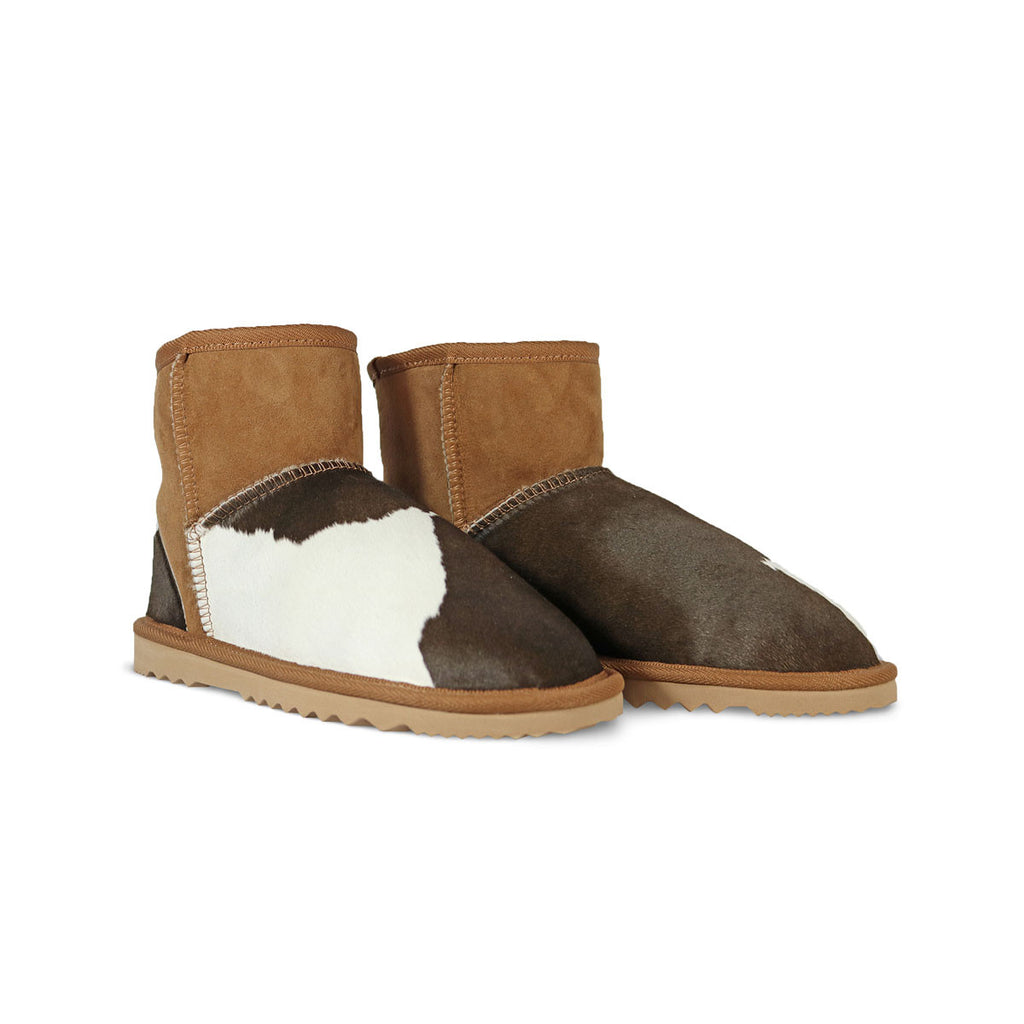 Classic MuMu Mini Chestnut sheepskin ugg boot with calfksin toe and heel online sale by UGG Australian Made Since 1974 Front angle view pair