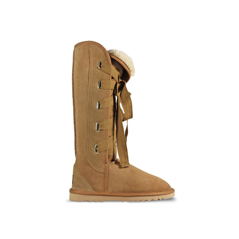 Classic Roxy Tall Chestnut sheepskin ugg boot online sale by UGG Australian Made Since 1974 Side view