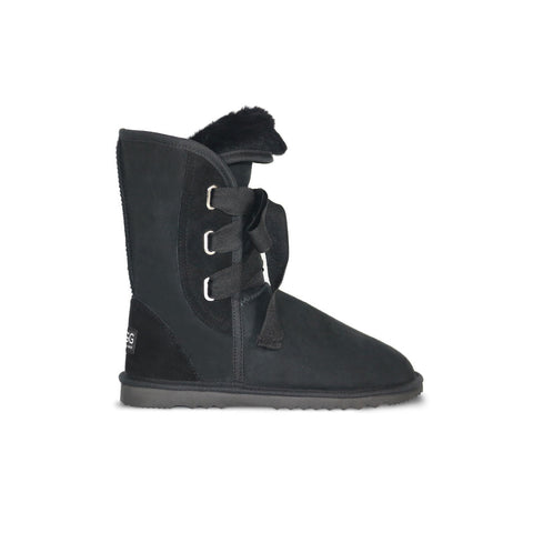 Classic Roxy Mid Black sheepskin ugg boot online sale by UGG Australian Made Since 1974 Side view