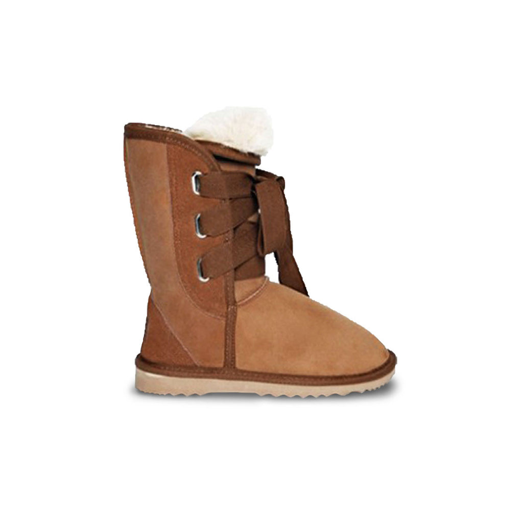 Classic Roxy Mid Chestnut sheepskin ugg boot online sale by UGG Australian Made Since 1974 Side view