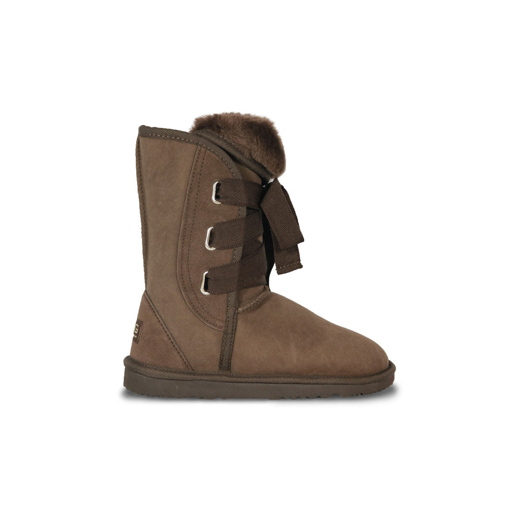 Classic Roxy Mid Chocolate sheepskin ugg boot online sale by UGG Australian Made Since 1974 Side view