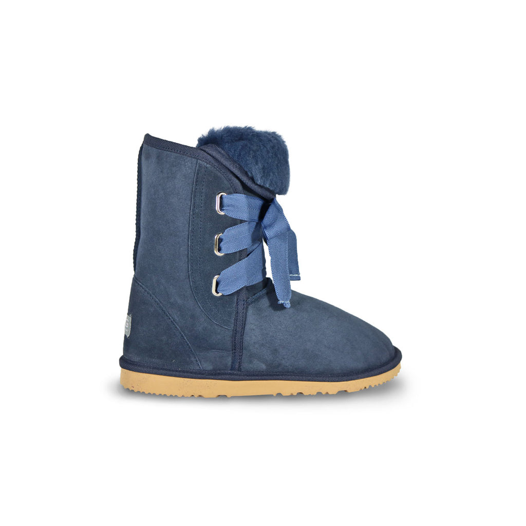 Classic Roxy Mid Navy sheepskin ugg boot online sale by UGG Australian Made Since 1974 Side view