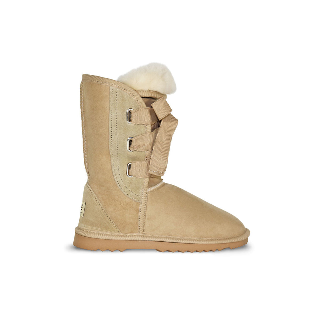 Classic Roxy Mid Sand sheepskin ugg boot online sale by UGG Australian Made Since 1974 Side view