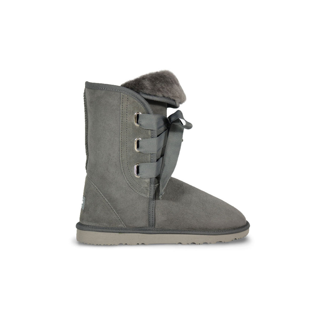 Classic Roxy Mid Slate grey sheepskin ugg boot online sale by UGG Australian Made Since 1974 Side view