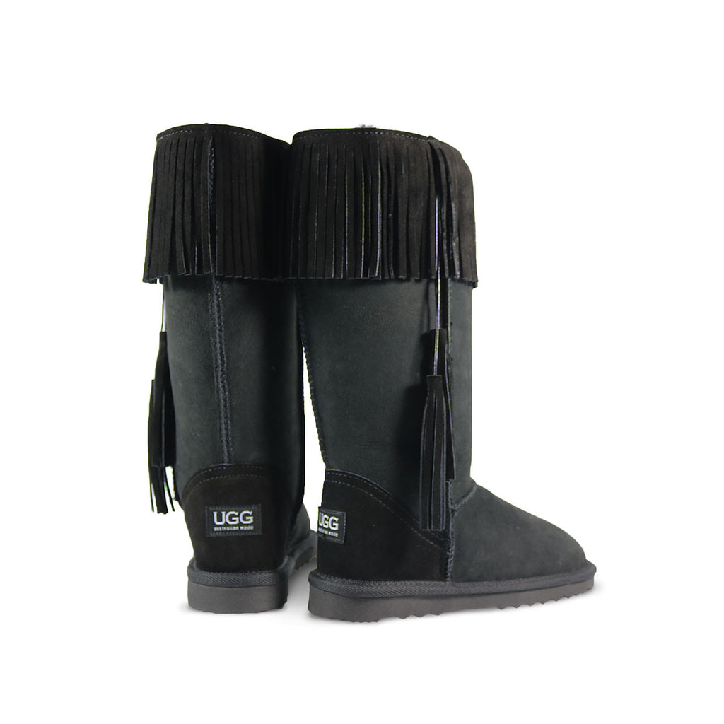Classic Tribal Tall Black sheepskin ugg boot online sale by UGG Australian Made Since 1974 Back angle view pair