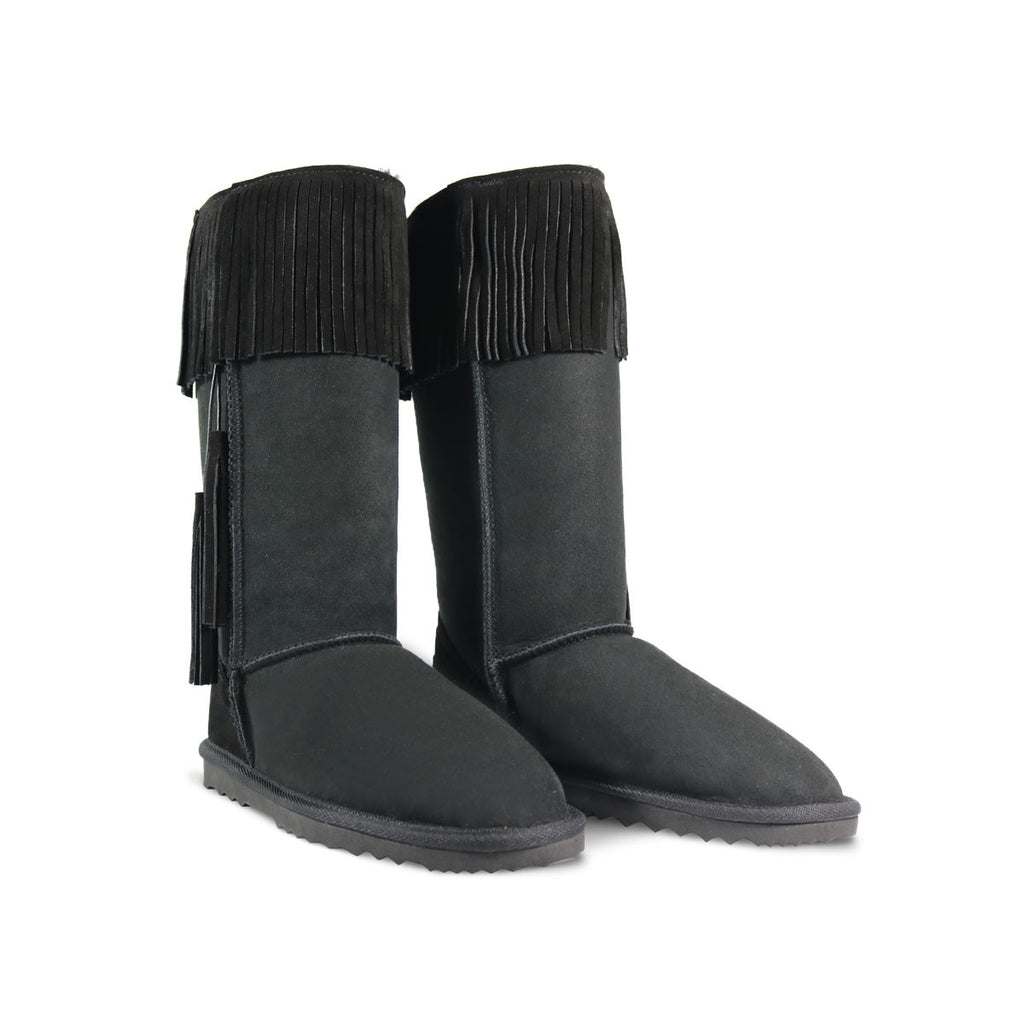 Classic Tribal Tall Black sheepskin ugg boot online sale by UGG Australian Made Since 1974 Front angle view pair
