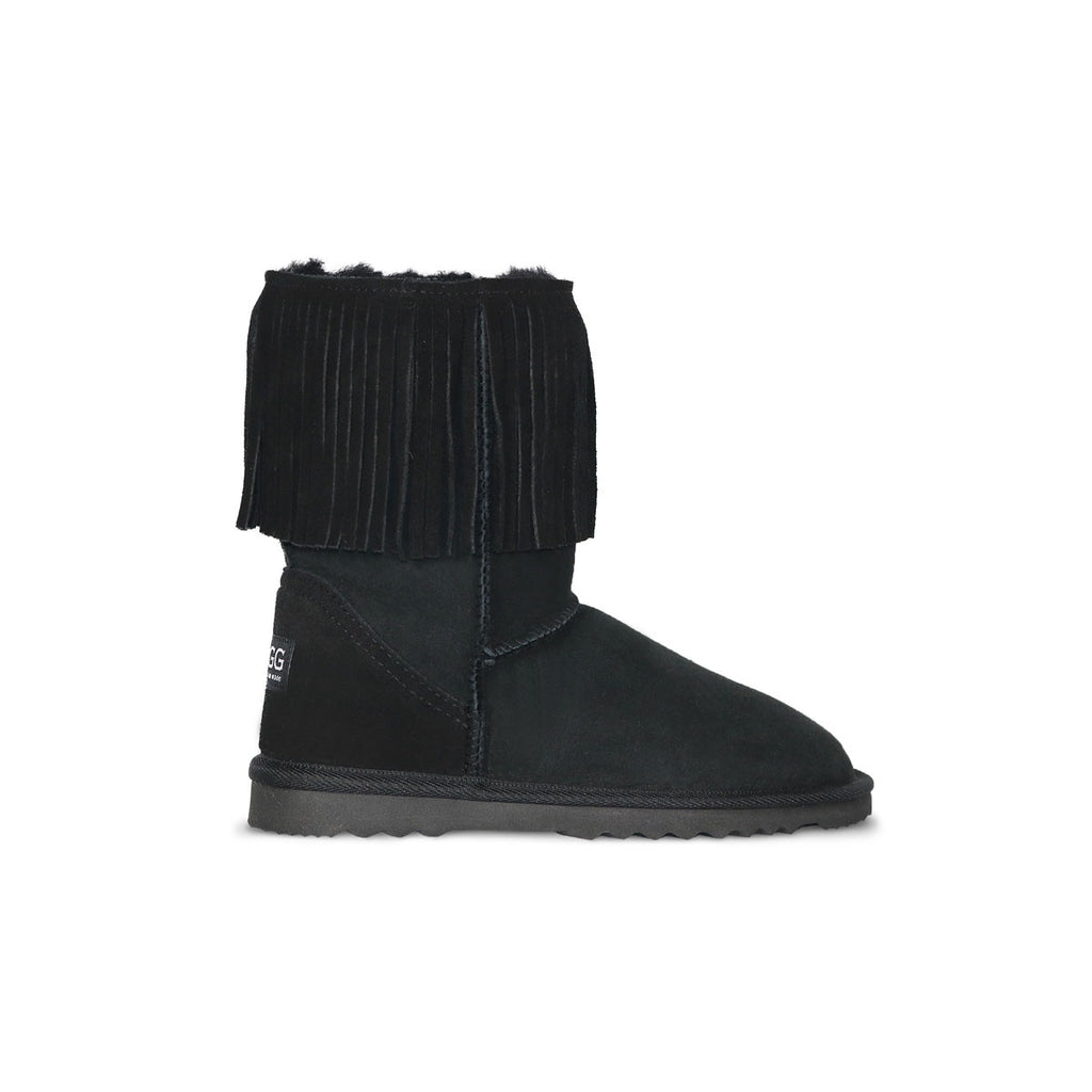 Classic Tribal Mid Black sheepskin ugg boot online sale by UGG Australian Made Since 1974 Side view