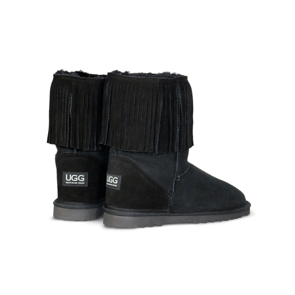 Classic Tribal Mid Black sheepskin ugg boot online sale by UGG Australian Made Since 1974 Back angle view pair