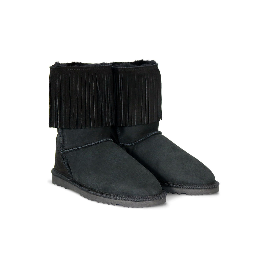 Classic Tribal Mid Black sheepskin ugg boot online sale by UGG Australian Made Since 1974 Front angle view pair