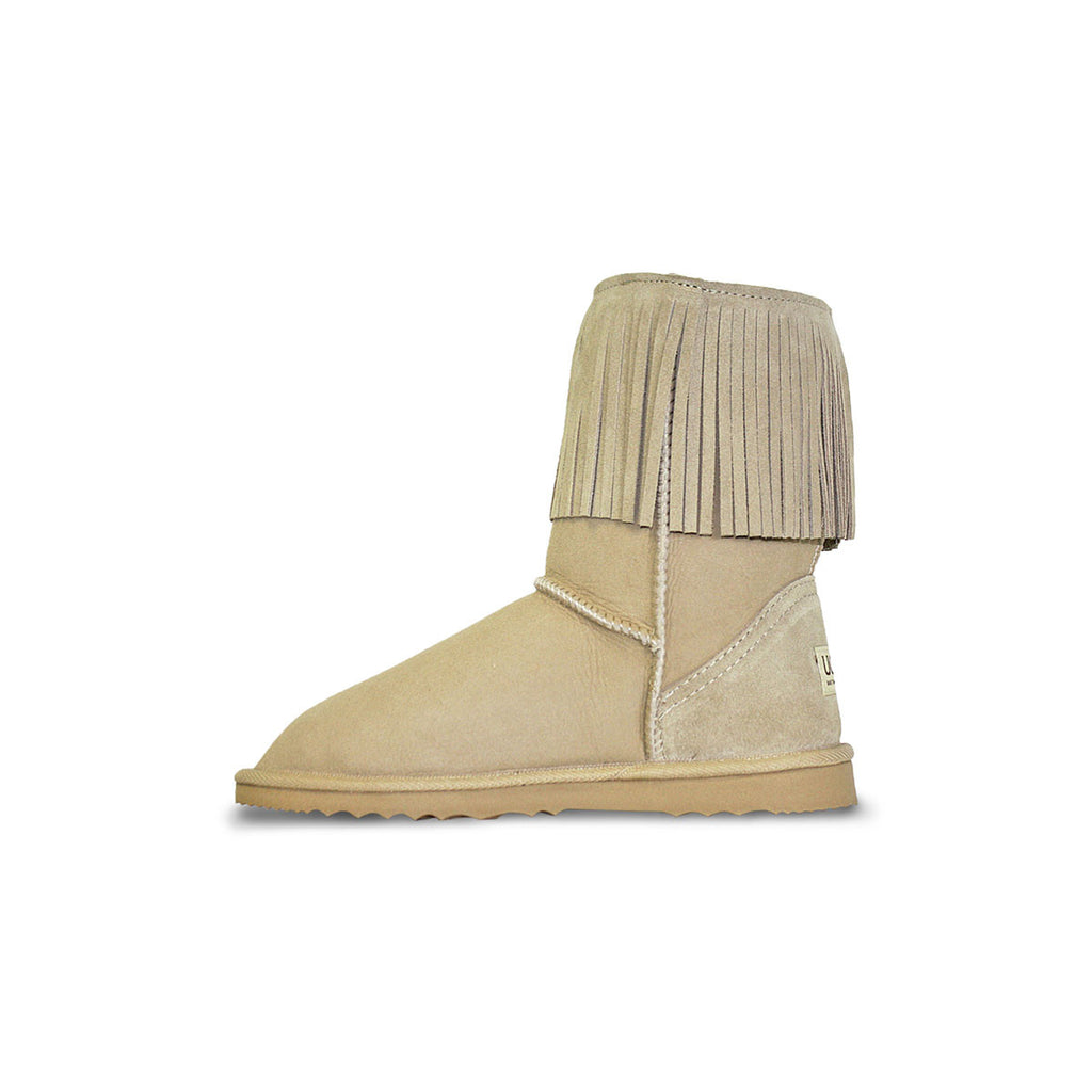 Classic Tribal Mid Sand sheepskin ugg boot online sale by UGG Australian Made Since 1974 Reverse side view