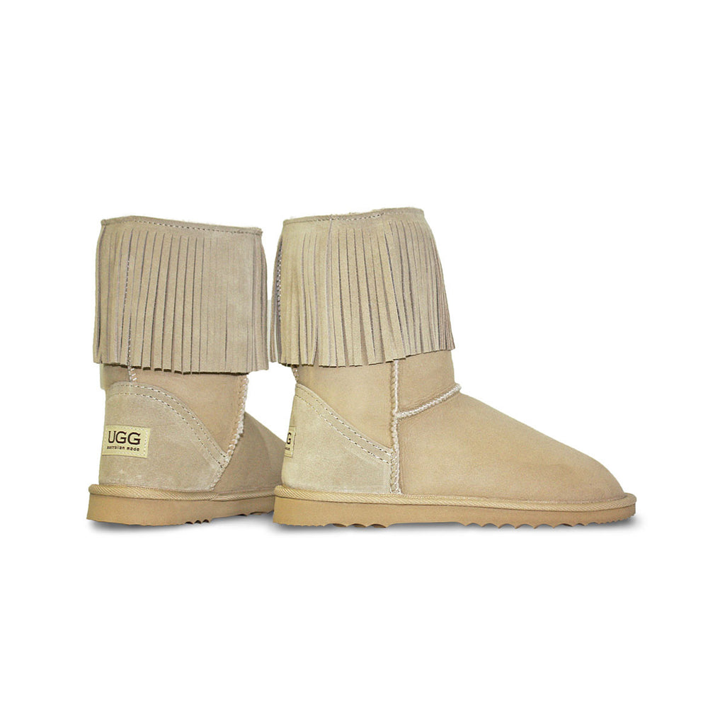 Classic Tribal Mid Sand sheepskin ugg boot online sale by UGG Australian Made Since 1974 Back angle view pair